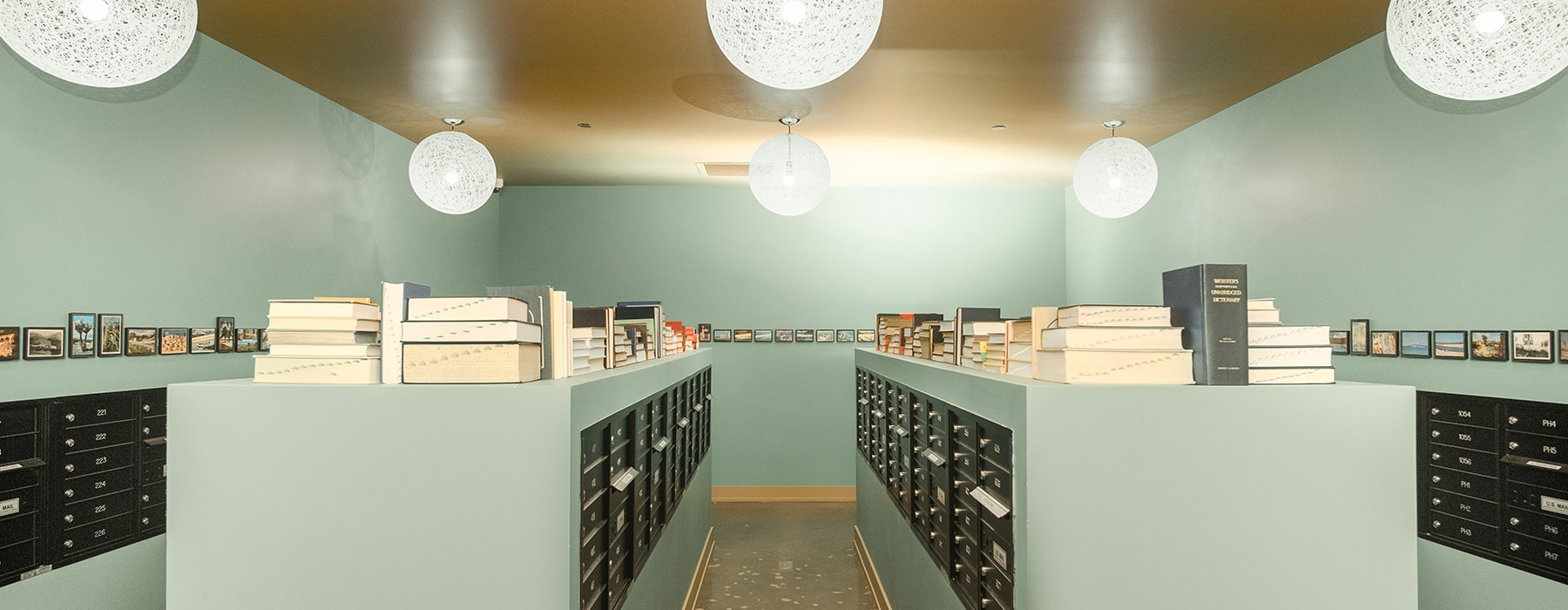 Vintage vibes in the mailroom with classic books displayed
