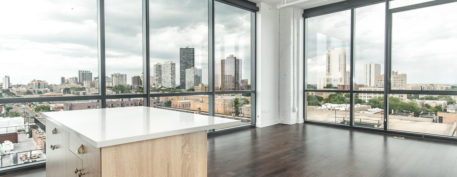 Floor to ceiling windows living space